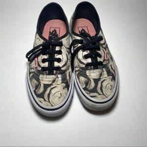 VANS White/Black Floral Print Sneakers size 7